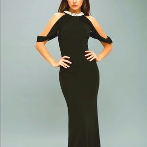 New! Lulu's Formal Full Length Fitted Pearls Dress